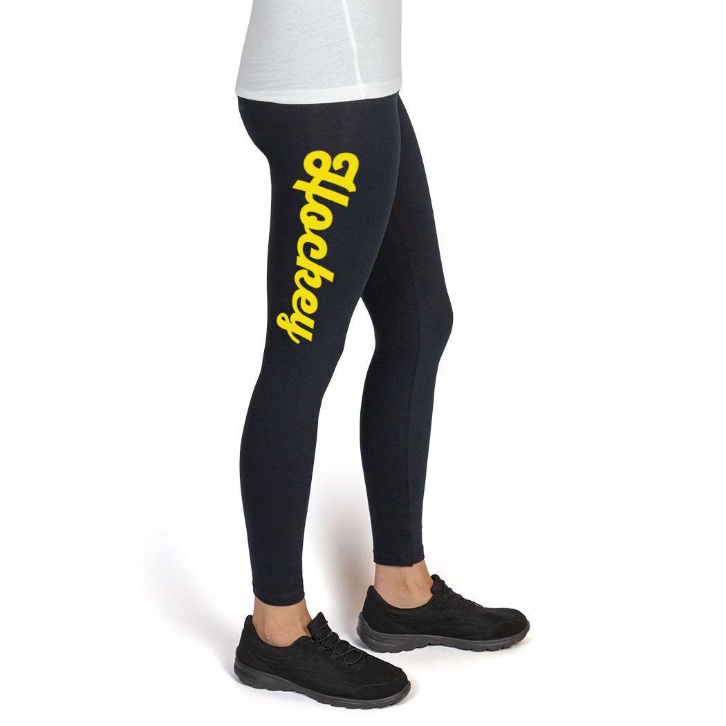Girls Hockey Printed Leggings Thigh Hockey Script Girls Hockey Apparel Adult 2xl Yellow Print Mom Leggings Hockey Clothes