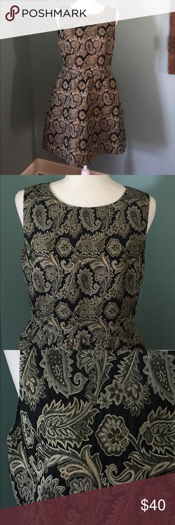 Cremieux brocade black gold dress size