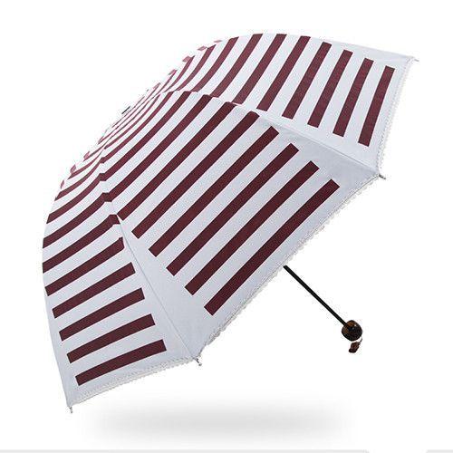 Women's Super Vinyl Quality Stripe UV-Resistant Folding Parasol Style Umbrella 4 Colors