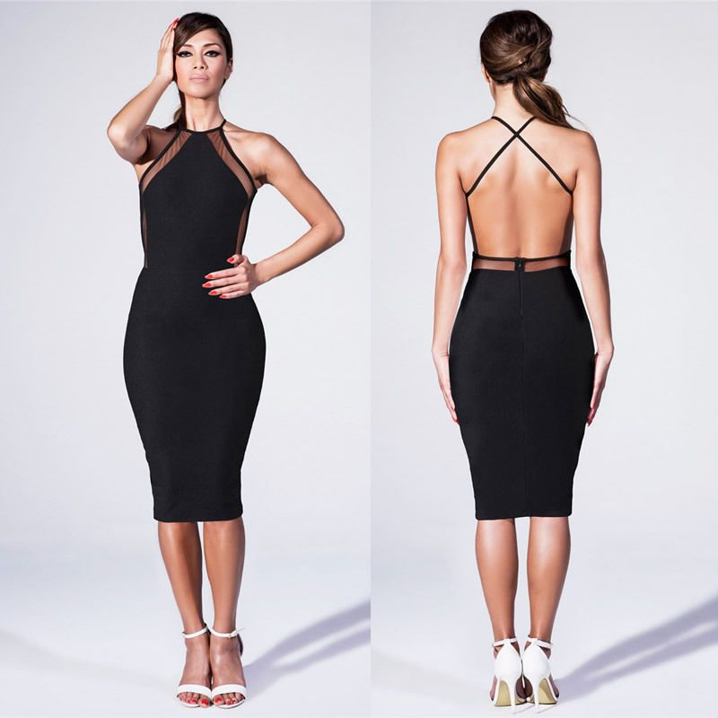 Criss Cross Backless Transparent Bodycon Dress | Party dresses 2014