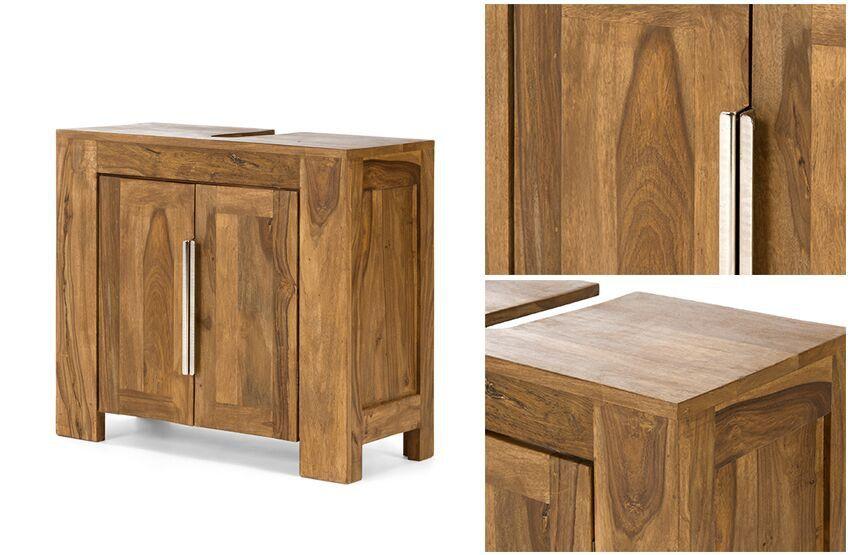 Waschbecken - unterschrank robustus Bad massiv Holz honigbraun ...
