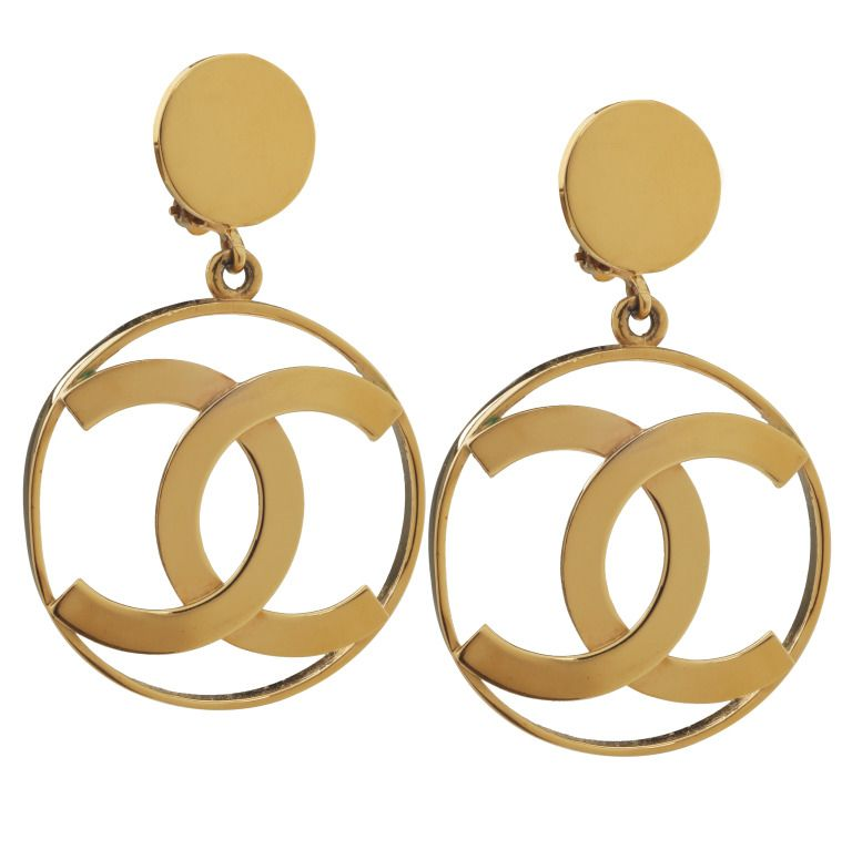 Large Chanel Logo Hoop Earrings From A Unique Collection Of Vintage At Http