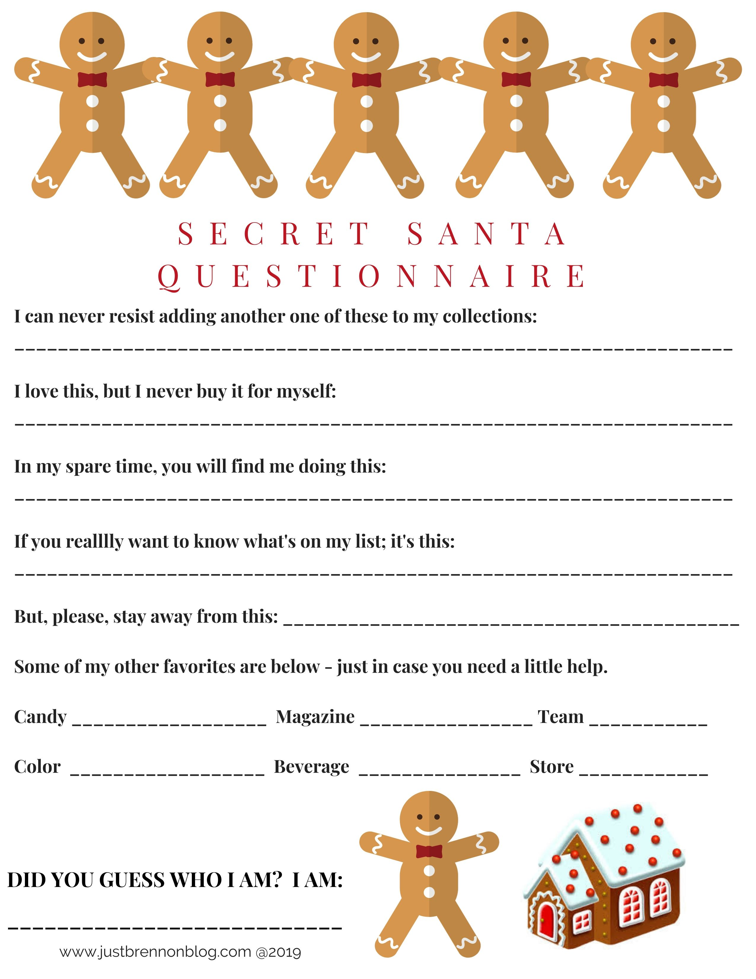 Printable Secret Santa Questionaire Made By Dollie Wolford Secret Santa Christmas Gifts Christmas Ideas Gifts Secret Santa