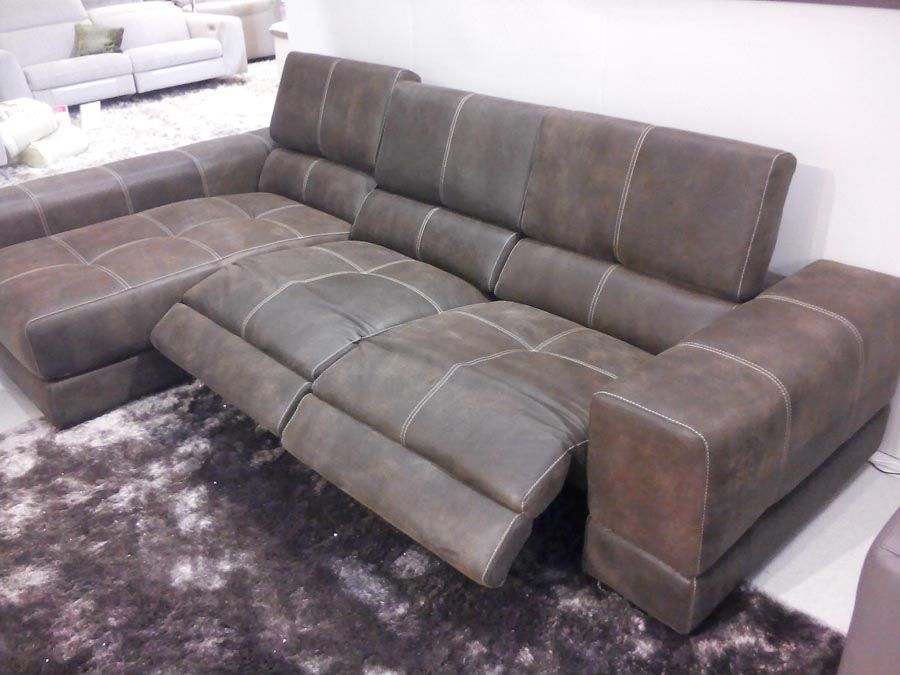 Sake electric reclining sofa with chaise lounge. Sofa in old west choco leather with contrasting & Sake electric reclining sofa with chaise lounge. Sofa in old west ... islam-shia.org