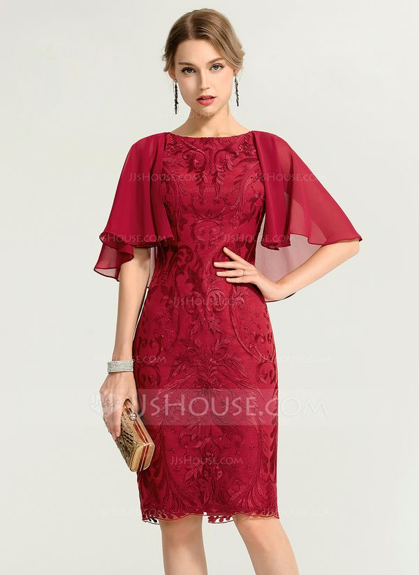 3ffb17ad Sheath/Column Scoop Neck Knee-Length Lace Cocktail Dress | Logan and ...