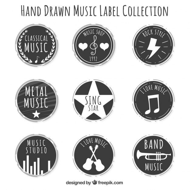 Download Round Vintage Music Stickers Set For Free Music Stickers Vintage Music Sticker Set