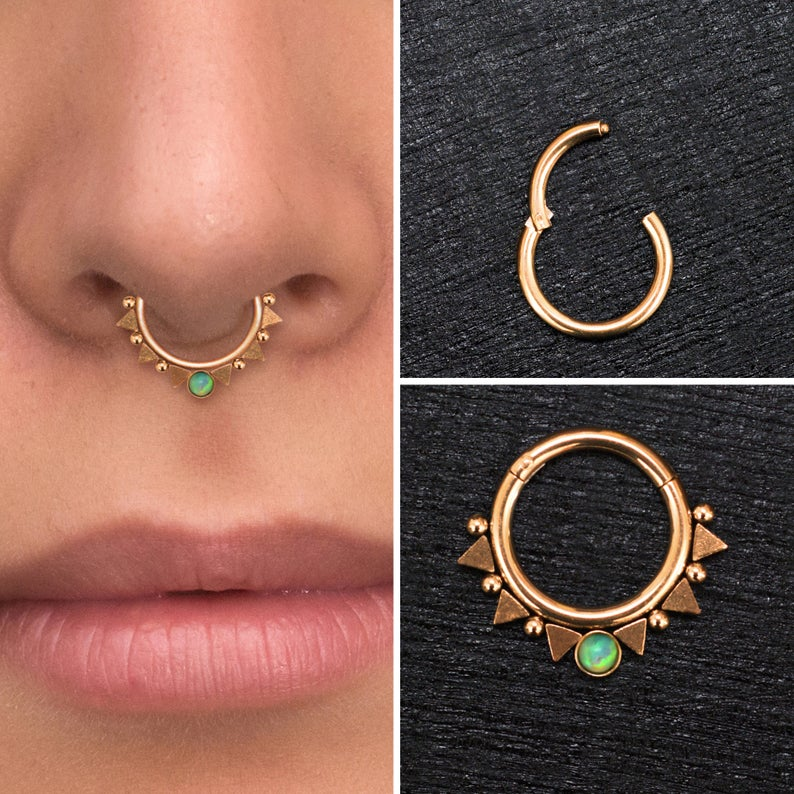 Surgical Steel Septum Ring Clicker Earring Opal Daith Etsy In