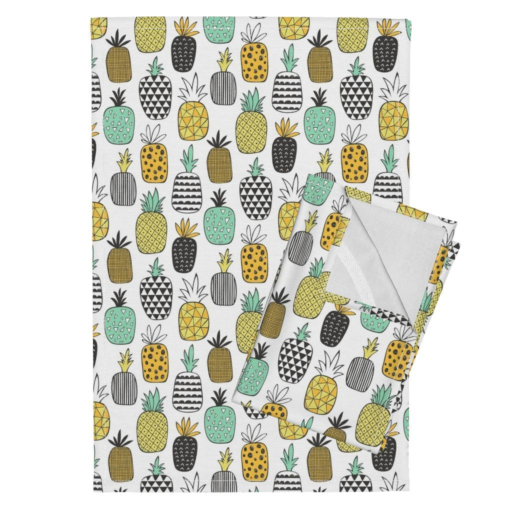 Orpington Tea Towels featuring Pineapple Geometric on White by caja_design | Roostery Home Decor