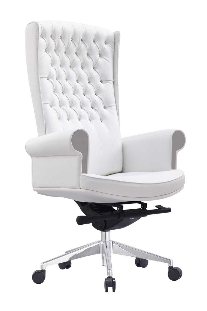 Whiteline Napoleon Executive High Back Office Chair White Office Chair Luxury Office Chairs Farmhouse Office Chairs