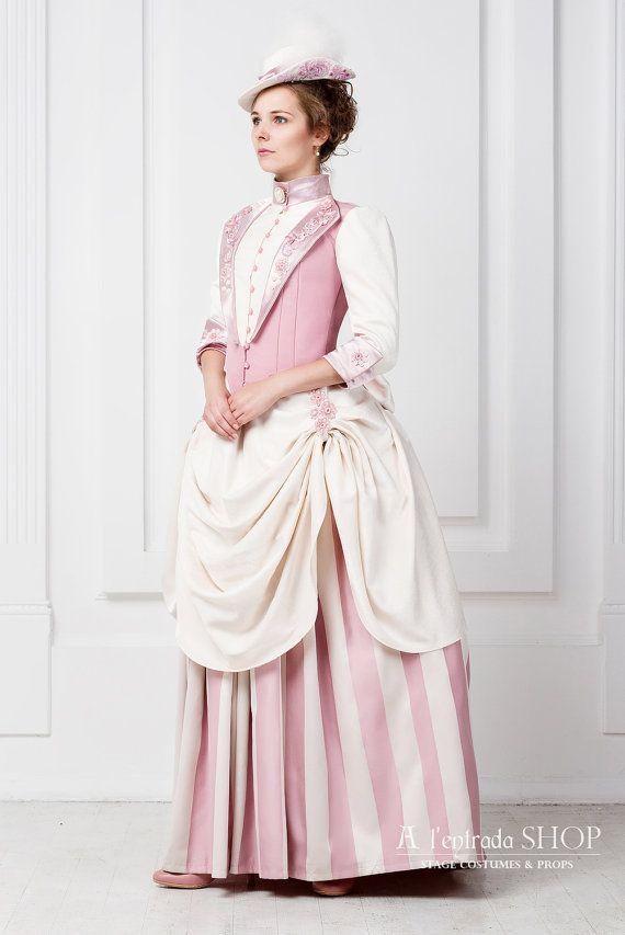 6e809a81d1624 Historical costume 1870-1880 Europe fashion tournure dress. Victorian dress.  Steampunk style costume $750.00