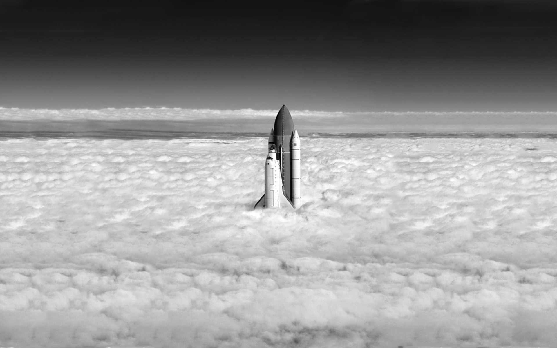 Desktop and Mobile Wallpaper Space shuttle, Above the