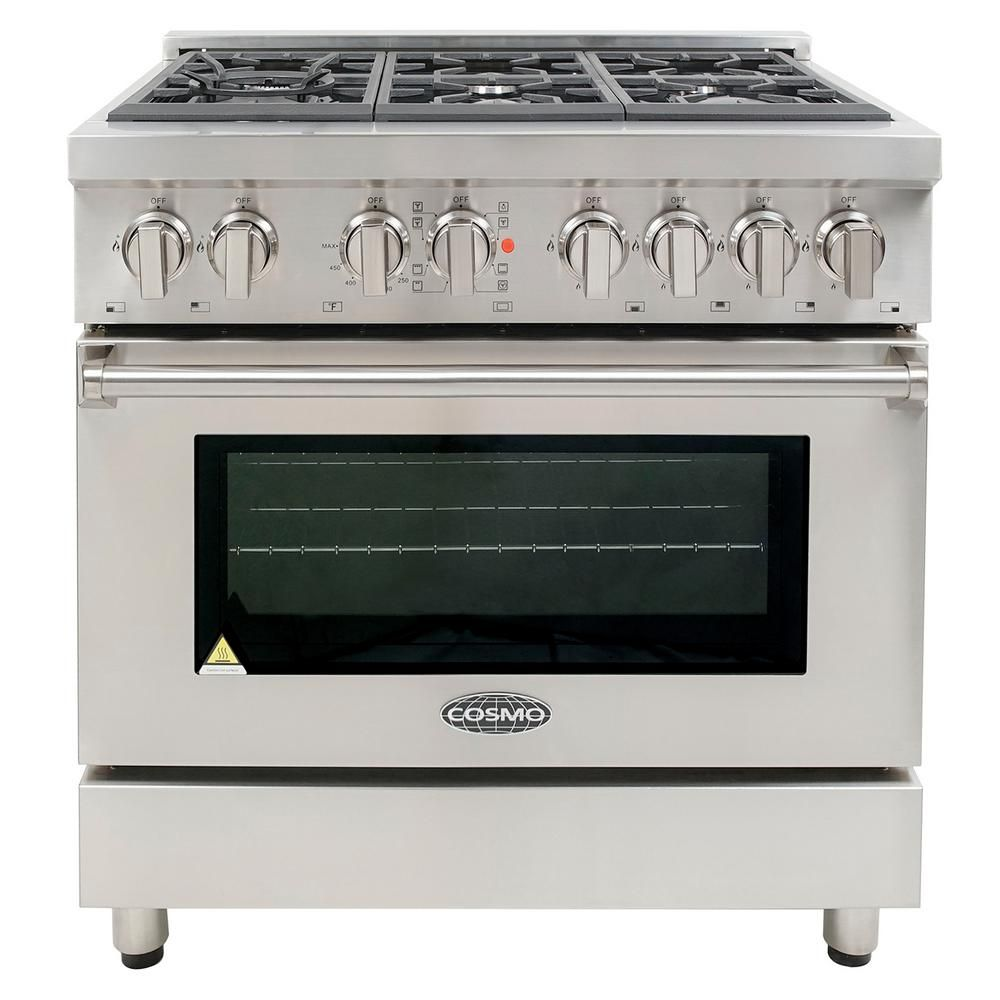 Cosmo Commercial Style 36 In 4 5 Cu Ft Single Oven Dual Fuel Range With 6 Italian Burners And 4 Function Electric Oven Cos Dfr366 Electric Oven Single Oven Oven