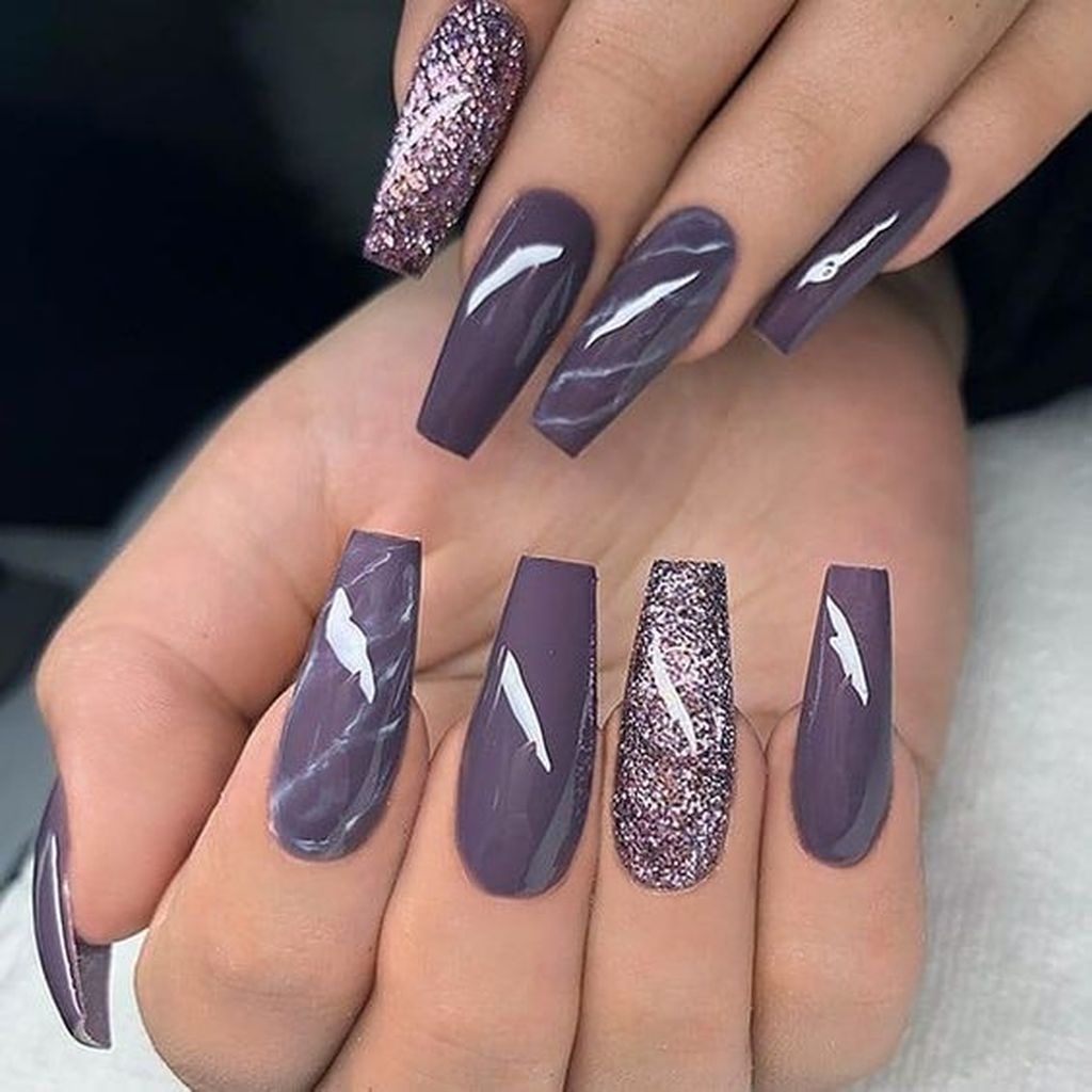 20 Popular Nail Colors Ideas This Fall Winter Purple Glitter Nails Coffin Nails Designs Popular Nail Colors