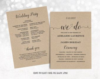 printable wedding program wedding program template kraft wedding