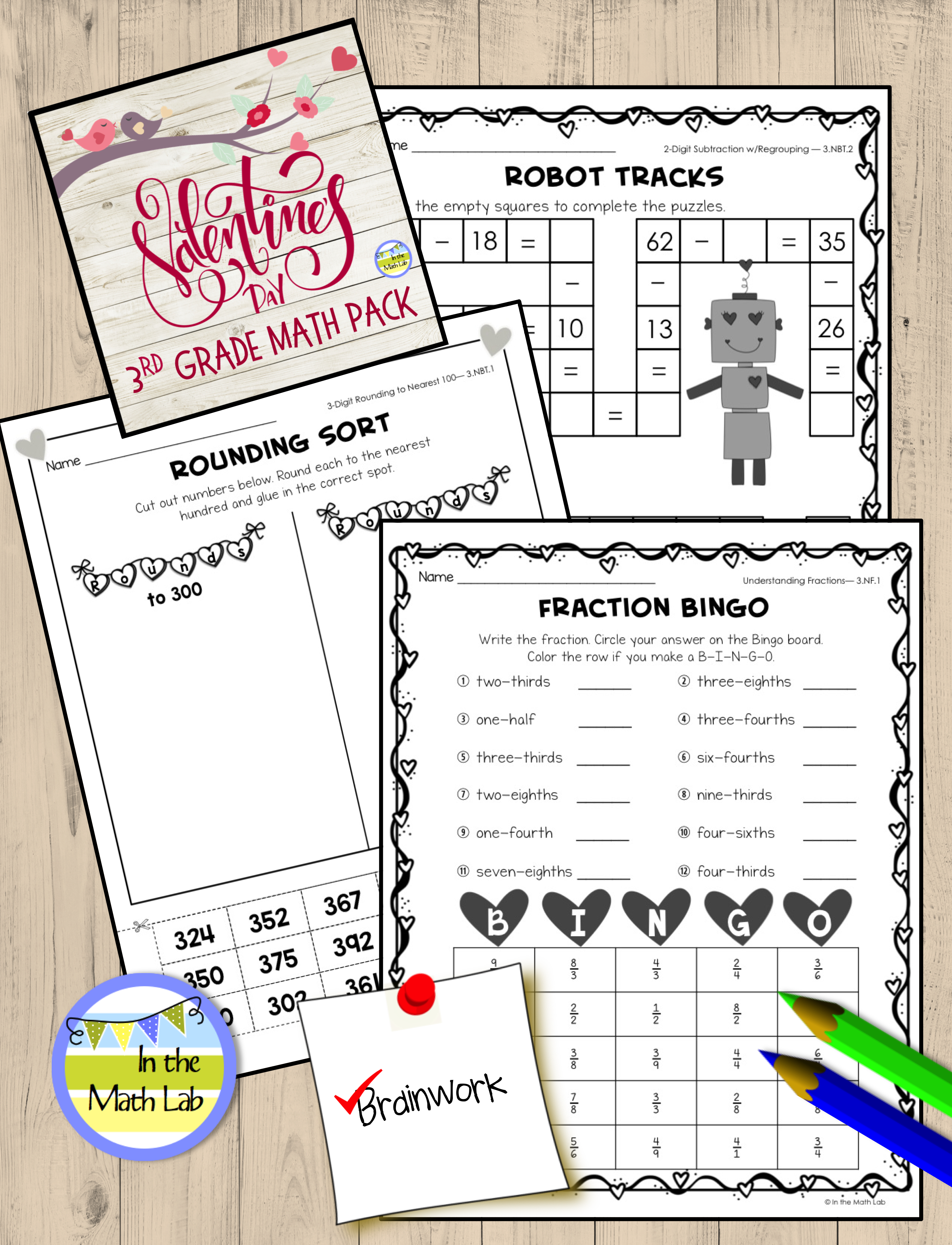 Valentine S Day Math Pack For 3rd Grade