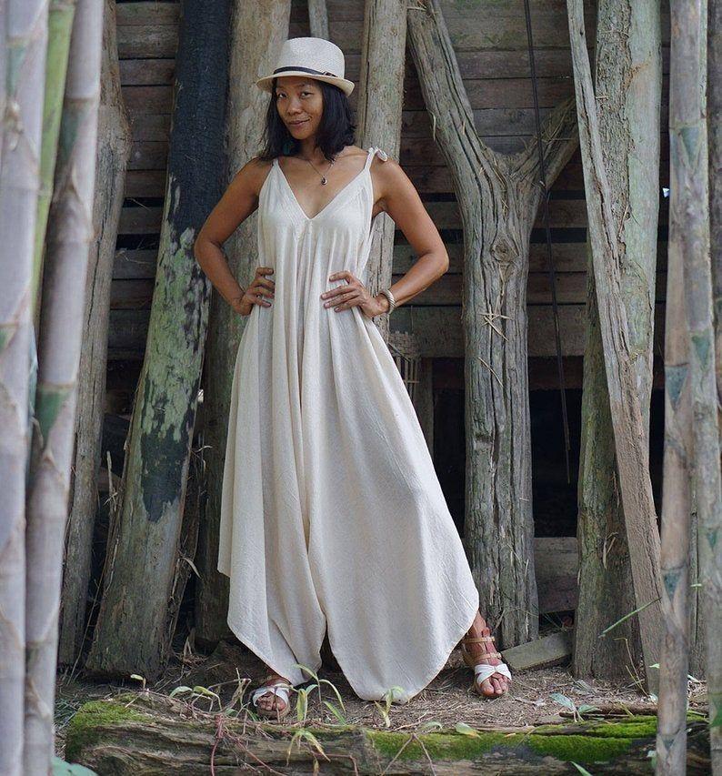 Wide Leg Jumpsuit Harem Jumpsuit Boho Dress Boho Jumpsuit Loose Jumpsuit Yoga Jumpsuit Natural Clothing Festival Jumpsuit Dress
