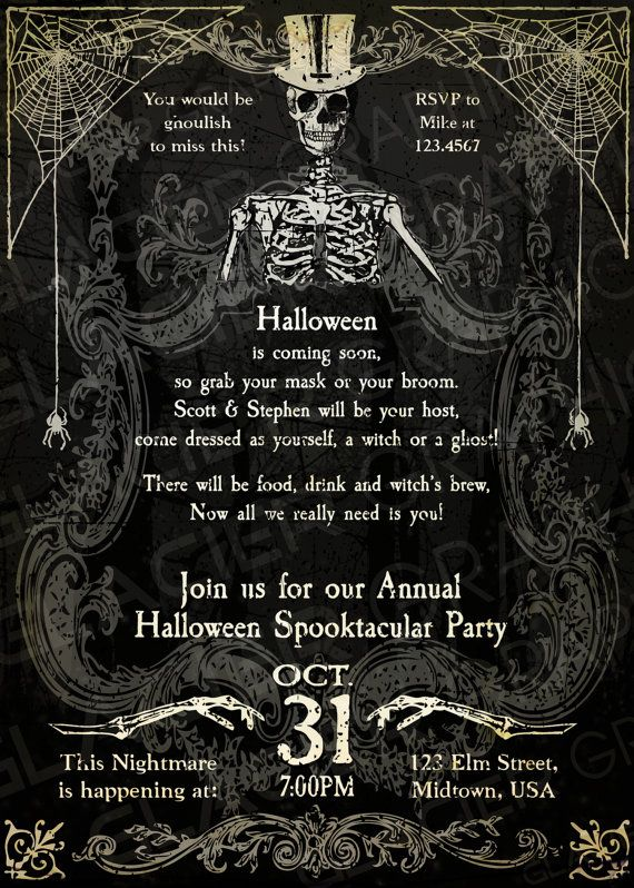Spooky Halloween Skeleton Invitation Template by