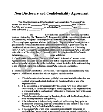 Non Disclosure And Confidentiality Agreement Sample Noida