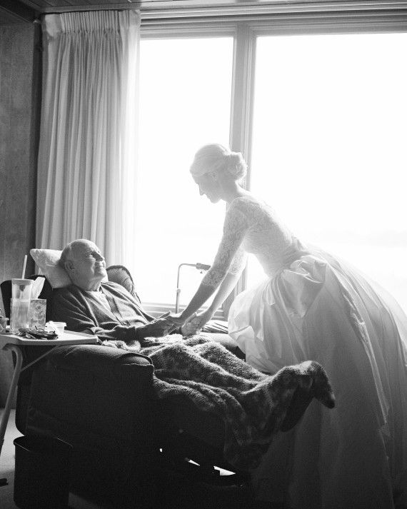 """Once Cameron was dressed and ready, she shared a moment alone with her ailing grandfather. """"It was so emotional,"""" she says, """"but it makes you realize what the day is about."""""""