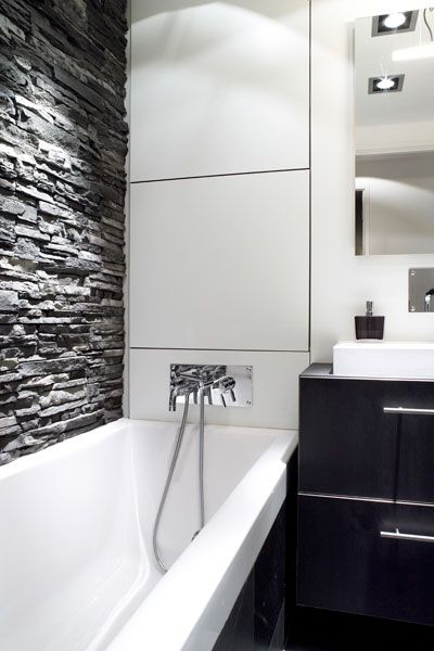 Sleek Modern Dark Bathroom With Glossy Tiled Walls: Love The Mix Of Sleek Modern Finishes With The Rough