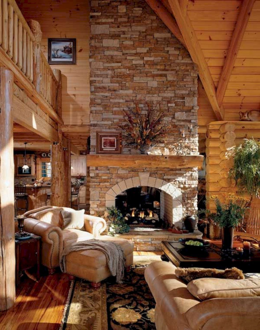 49 Superb Cozy And Rustic Cabin Style Living Rooms Ideas Freshouz Com In 2020 Log Home Living Home Fireplace Log Cabin Living