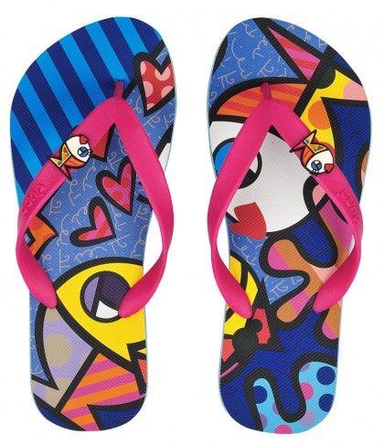 a24c86bf7 Chinelos Dupé por Romero Britto | tendencias | Flip Flops, Shoes e ...