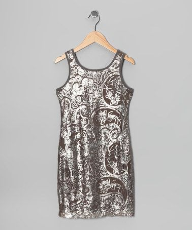 Take a look at this Pewter Lace Shift Dress by Elisa B. on #zulily today!
