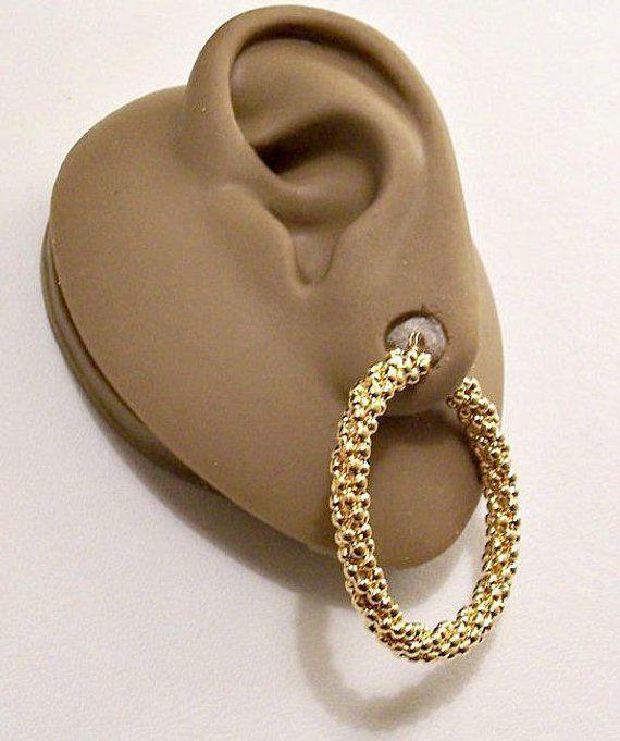 Monet Twisted Bead Hoops Pierced Stud Earrings Gold Tone