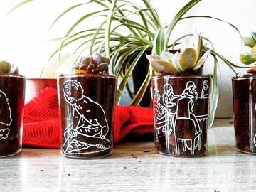 Beautiful gentile glass cups, hand-made illustrations. The Succulent are already planted inside. 14 x 7