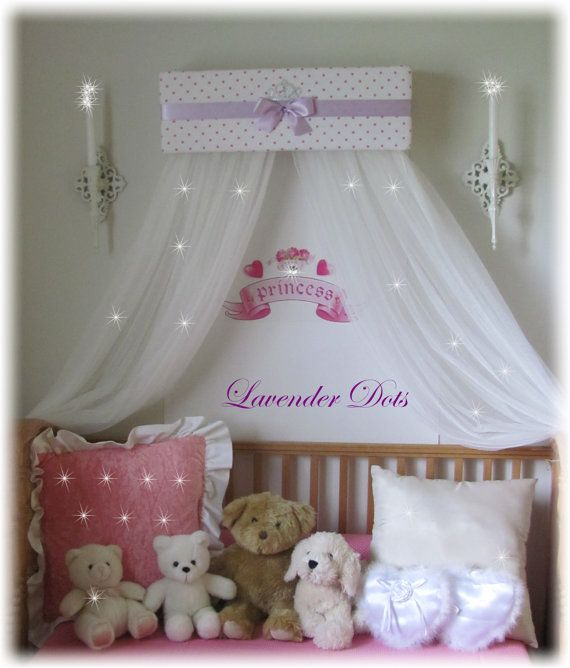 Princess Bed Canopy Girl Crown Pelmet Upholstered Awning: Personalized Bed Crown Canopy Princess Upholstered Lilac