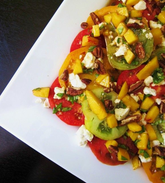 Heirloom tomato, peach, goat cheese and pecan salad