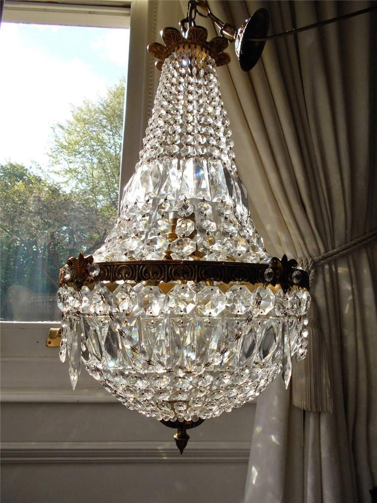 Vintage French Empire Crystal Chandelier Vintage Crystal