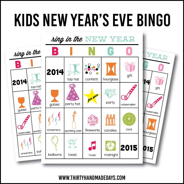 Printable New Years Eve BINGO for Kids – Free Printable New Years Eve Party Invitations