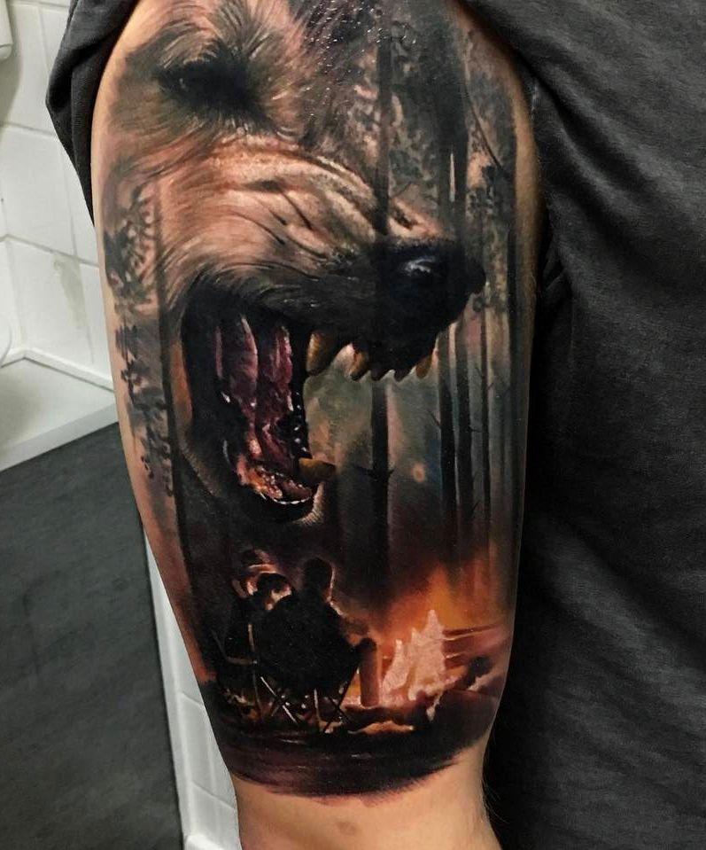 Wilk Na Kempingu Tattoo Tattoos Tatuaże Z Wilkiem