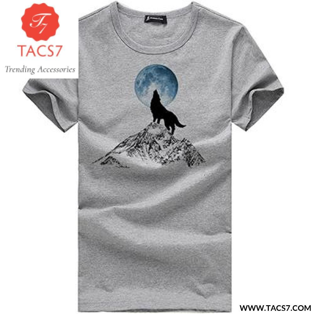612ba6ed393 Wolf pattern casual men t-shirt famous brand young fashion funny t shirts  100% cotton men clothing