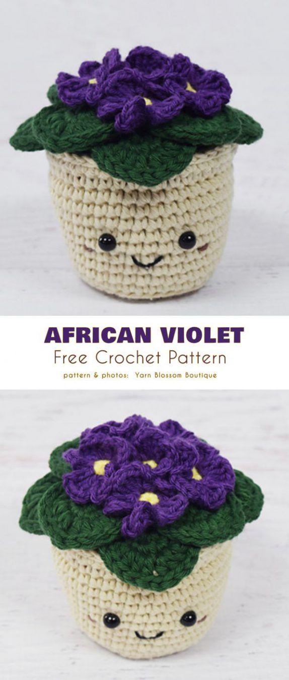 African Violet Flowers Free Crochet Pattern