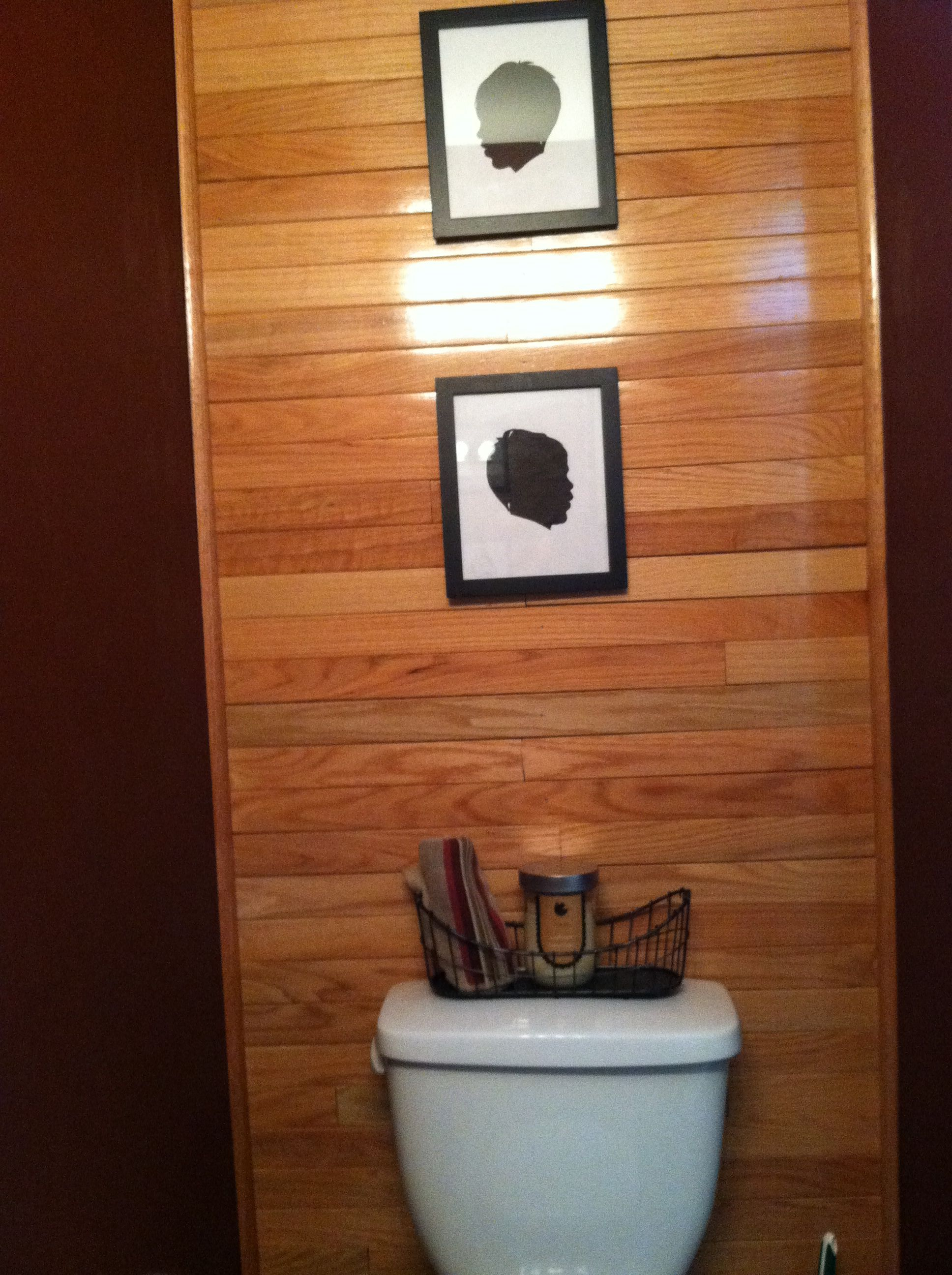 Made With Hardwood Solids With Cherry Veneers And Walnut: Bathroom Wall Made Of Leftover Hardwood Flooring. All The