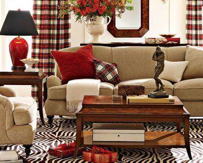 Red Beige Living Room Plaid Living Room Plaid Curtains