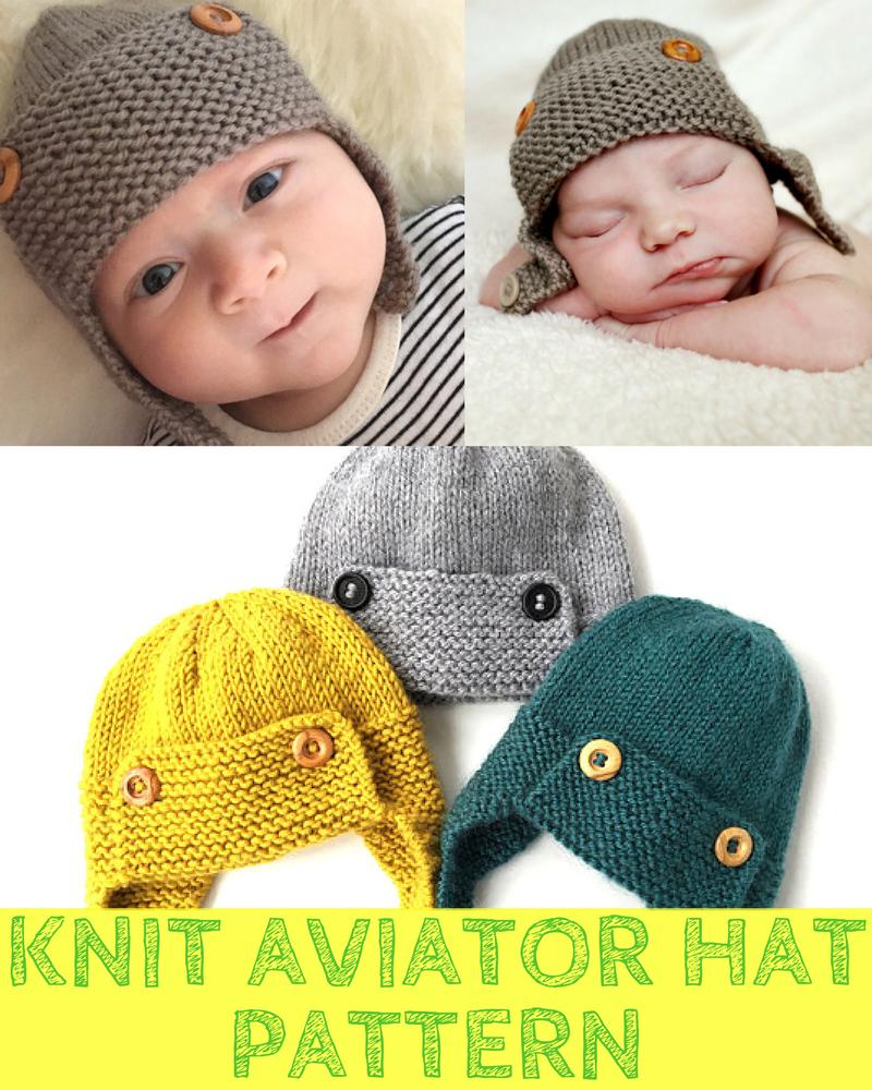Boys Knit Aviator Hat Pattern 6 Sizes Newborn To 5yr Olds ...