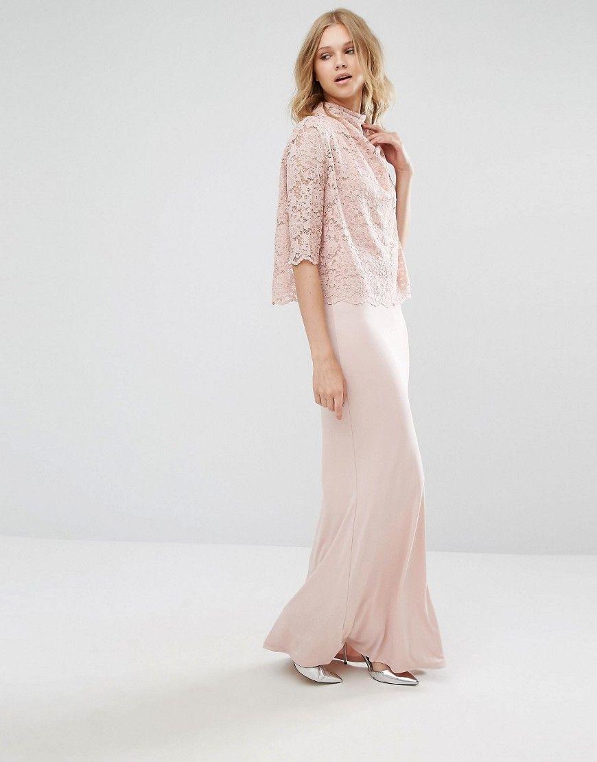 51a9d796ccbcb Mango High Neck Lace Top Maxi Dress - Pink   Boho   Lace Dress, Lace ...