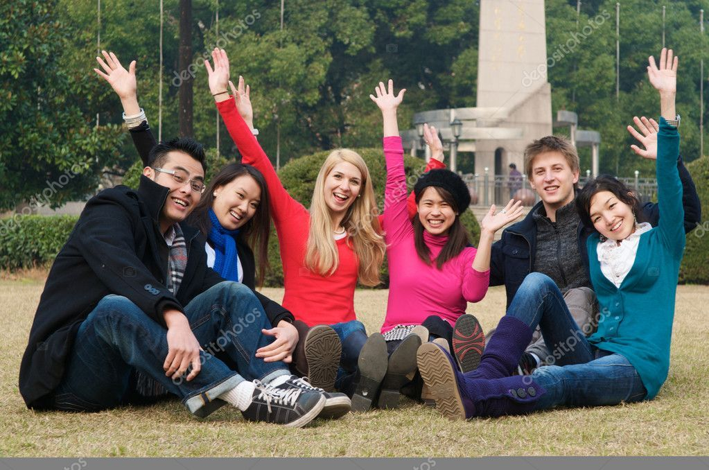College Students Cheering Stock Photo , Sponsored,
