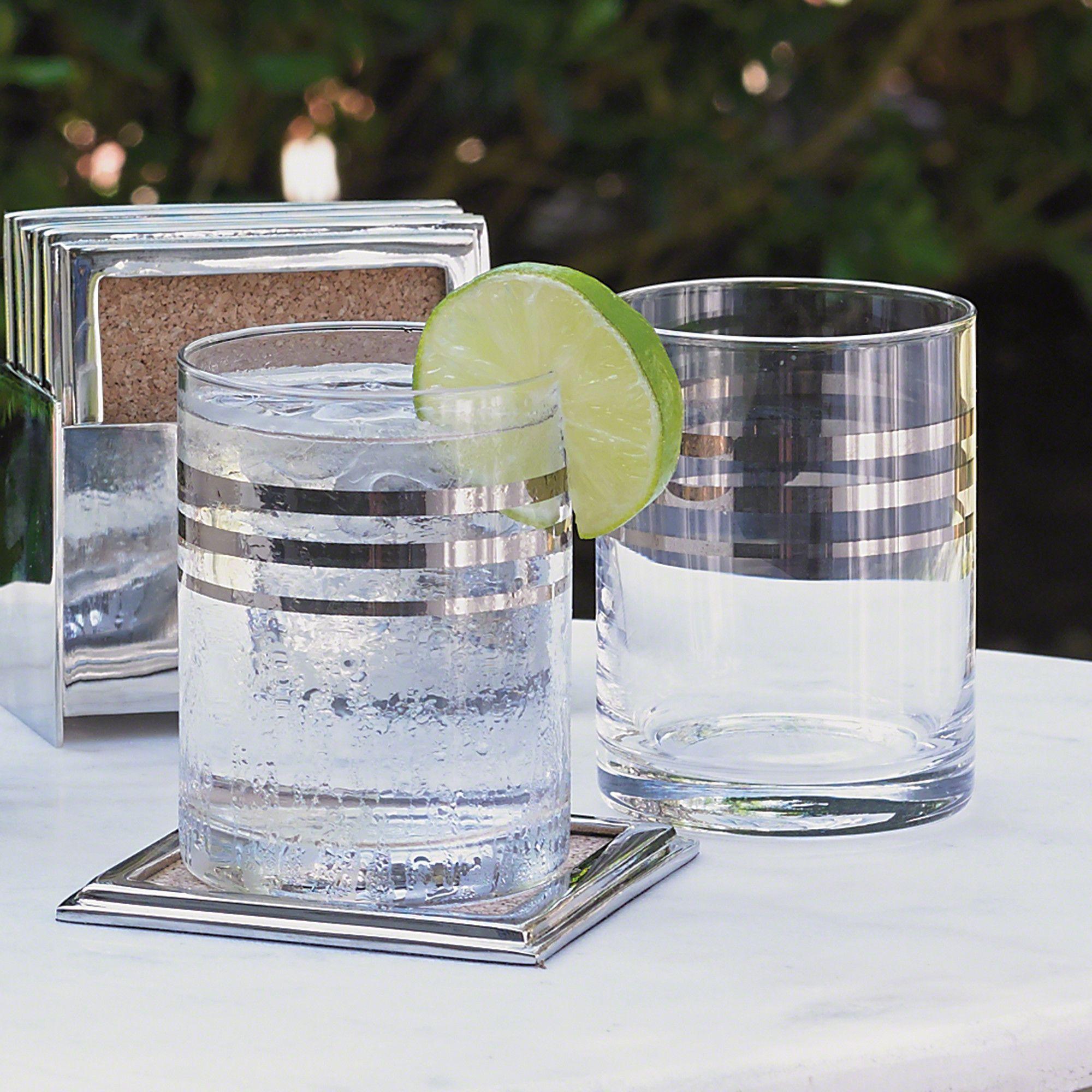 Barware 6 oz. Platinum Banded Double Old Fashion Glass