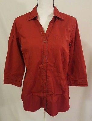 Womens Eddie Bauer Dark Red 3/4 Sleeve Button Up Top Size Large Blouse | eBay Shopping