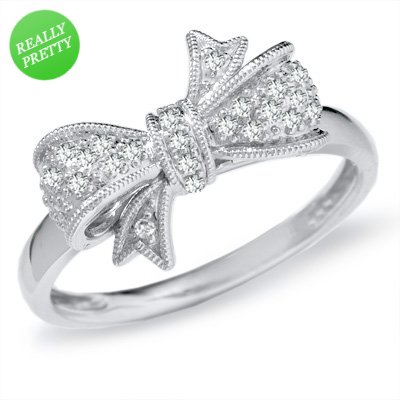 I've tagged a product on Zales: 1/10 CT. T.W. Diamond Bow Ring in 10K White Gold
