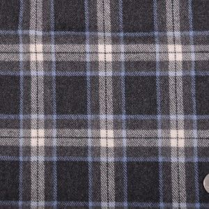 Italian Charcoal Gray Plaid Wool Flannel Flannel Wool Fabric