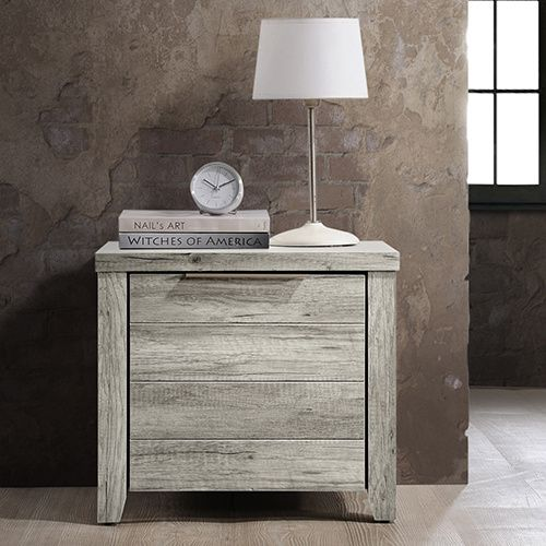 Best Alice Mdf Wood Bedside Table W 2 Drawers White Ash Mdf 640 x 480