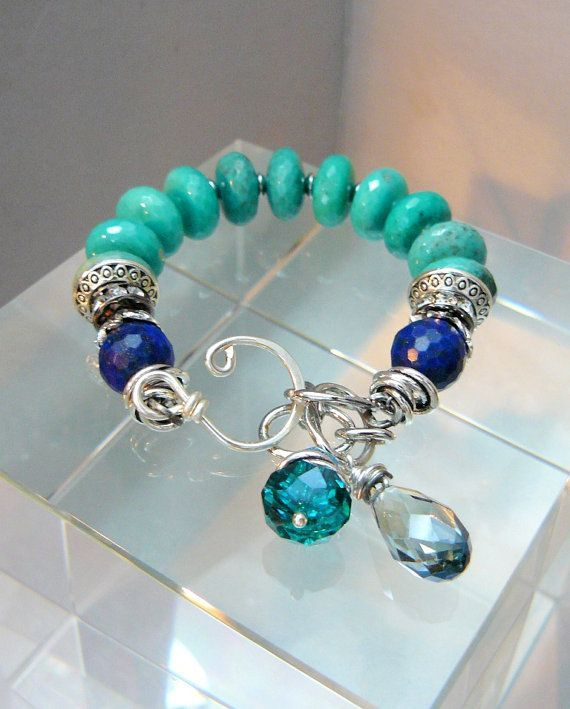 Perfect Storm with Amazonite Lapis and Silver by pmdesigns09, $72.00 Clasp...gorgeous: