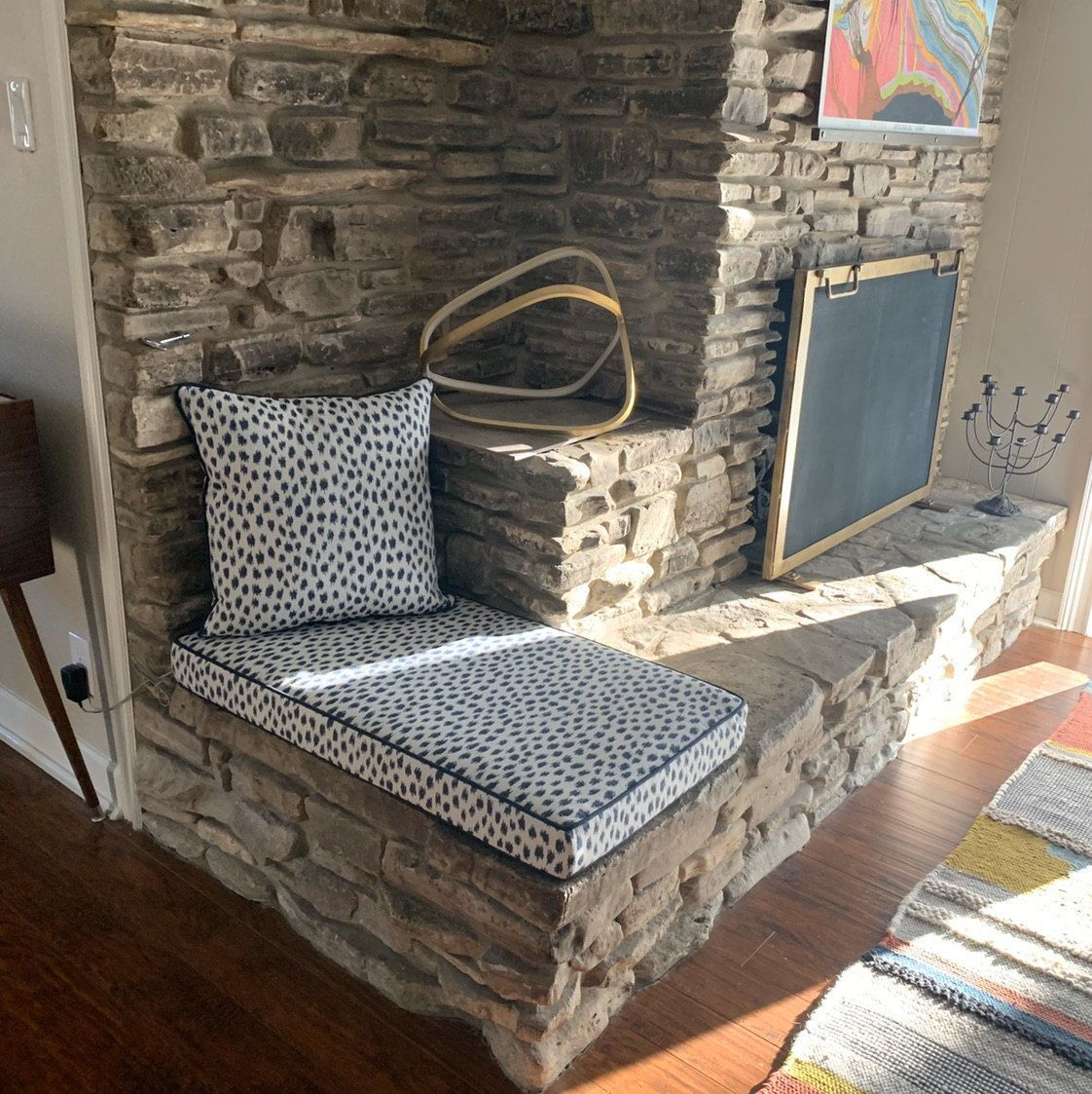 Custom Outdoor Bench Cushions In 2020 Bench Cushions Fireplace Seating Custom Bench Cushion