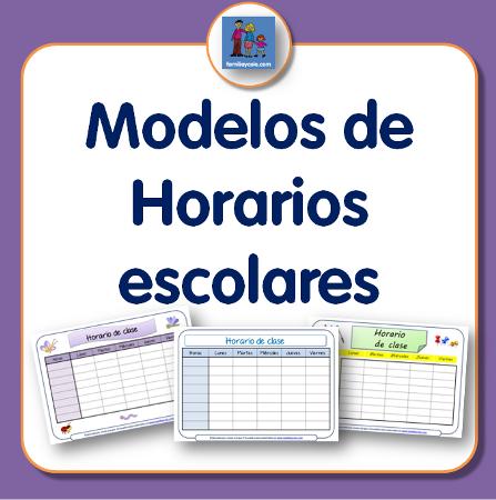 Diferentes modelos de horario escolar para descargar e imprimir ...