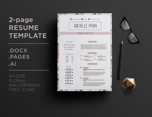 Elegant  Page Cv Template By Chic Templates On Creative Market